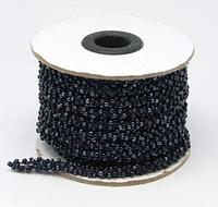 Seed Beads Cord, Glass, Black, 6mm, 10m/roll