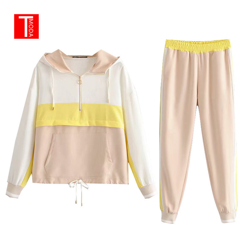 Set Female Vintage Yellow Contrast Color Baseball Bomber Pullover Jacket Women Top And Pencil Jogging Pants Suits Two Piece Sets