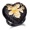 Mulheres anéis dc1989's special preto banhado coração forma padrão de folha de ouro com mutli cores cubic zircon moldura definir lead free