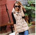 Latest Winter Fashion Women Down jacket  Hooded Thicken Super warm Medium long Vest Coat Pure color Slim Big yards Coat SJ1150