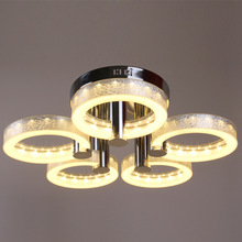 Modern Stainless Steel Acrylic Chandeliers Brief Living Room Lamps Led Circle Chandelier Lighting Fixture 90~260v WCL002
