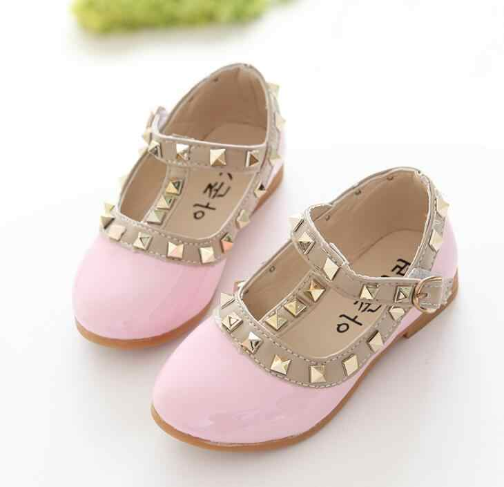 Detail Feedback Questions about 2019 New Girls Flats Children Shoes Patent  Leather Baby Princess Rivets Buckle Dance Shoes For Kids sneaker Size 21 36  on ...