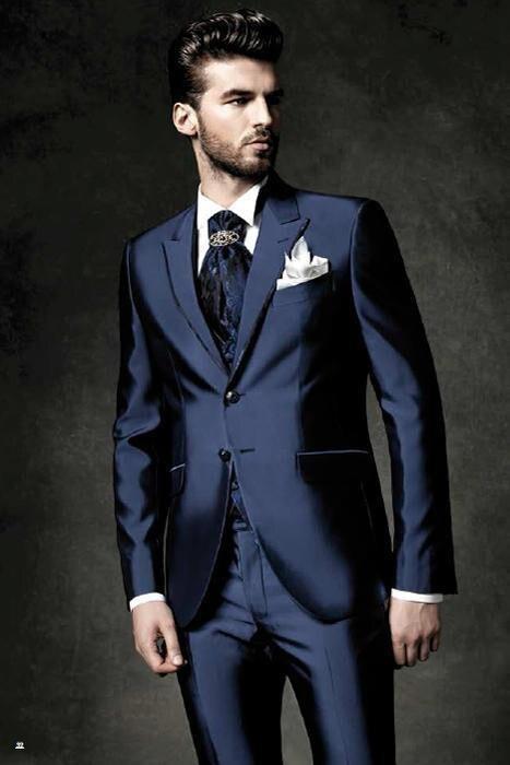 2016 SexeMara Brillant Marine Bleu Marié Smokings Hommes de Costume  Groomsman Meilleur Homme De Mariage De Bal Costumes de mariage (veste +  Pantalon) dans ... 8d427e5df98
