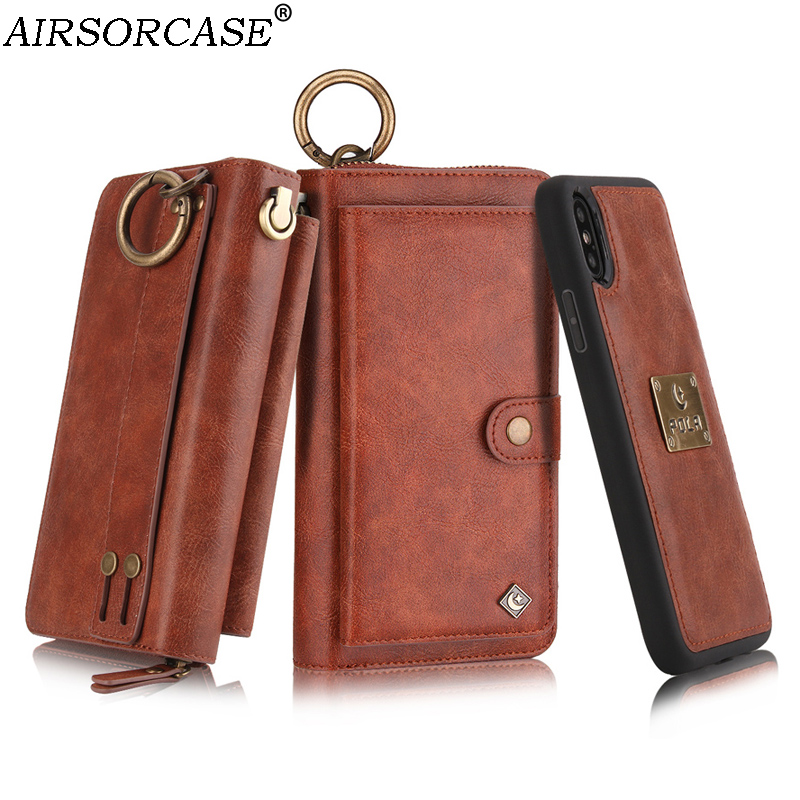 With Lanyard Multifunction Metal Ring Zipper Card Wallet Phone Case for iPhone X 10 6 6S 7 8 Plus Leather Case 8Plus Back Cover