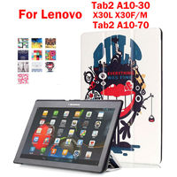 Tab3 10 Business Colorful Print Leather Case For Lenovo Tab2 A10 70F A10 30 A10 30
