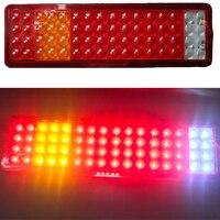 1 Pair LED Truck Rear Tail Light 64 LED Stop Brake Lamp for 24V Pickup Van Caravan with License Plate Light