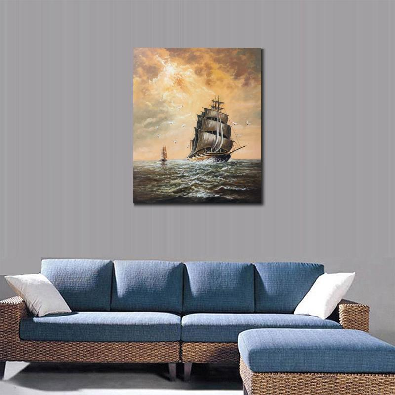Wall art oil paintings sailing boat Stormy Weather Joseph William ...