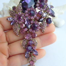"""4,1"""" элегантные фиолетовые стразы, кристалл, Каплевидная форма, брошка заколка медальон EE06524C3"""