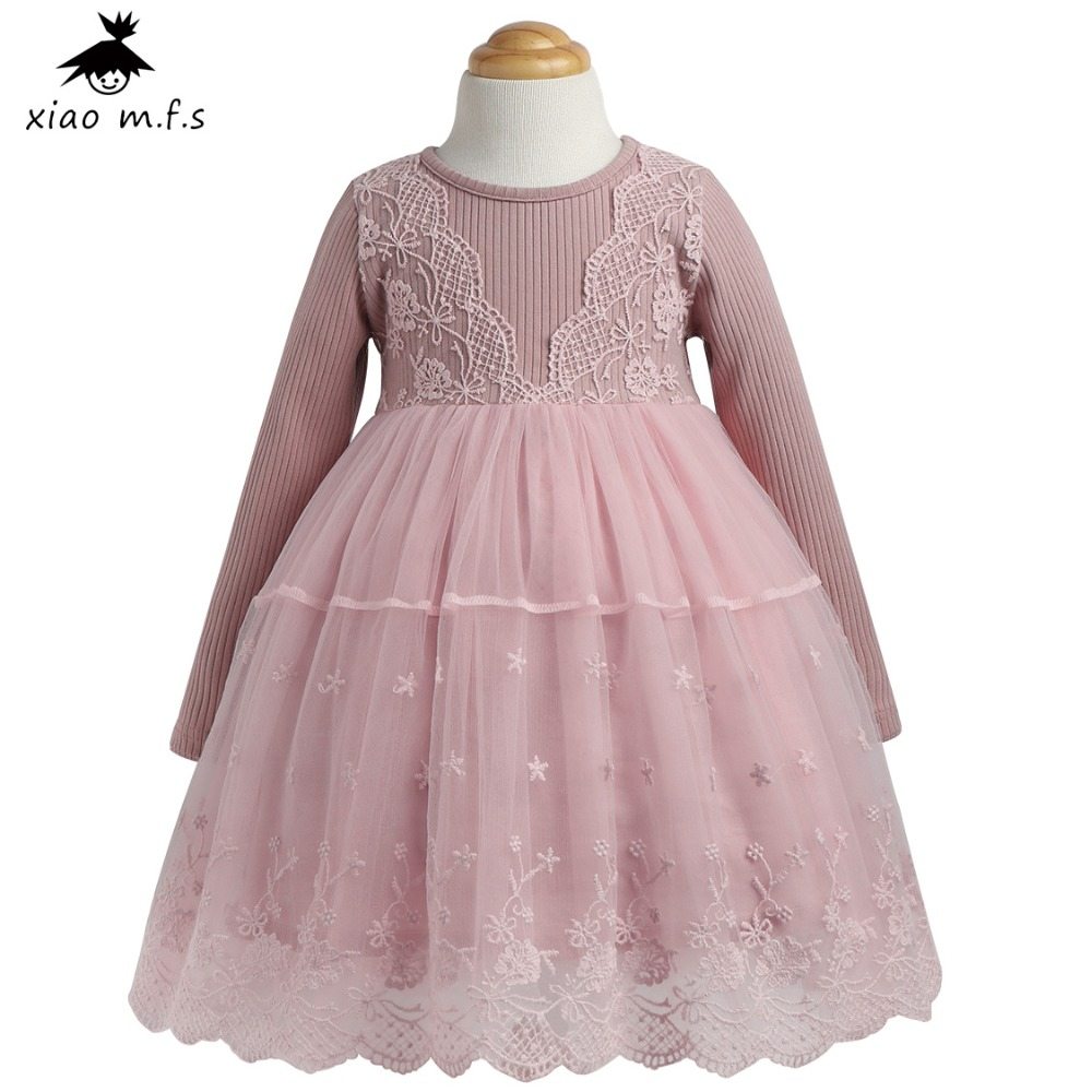 Autumn Winter Girls Dress 2017 Casual Long Sleeves LaceMesh Kids Dresses For Girl Autumn Clothing Cute