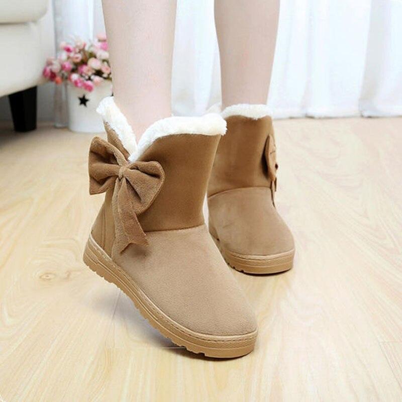 2017 Women Boots For Winter Warm Fur snow boots fashion platform fur Women shoes Slip On Bowtie Shoes