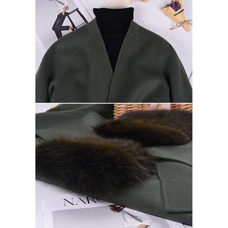 Cheveux Hiver Poche 2018 Renard Nouveau face De Fourrure beige Manteau Et Automne Armygreen Cachemire Col V Double 65qCTx4w