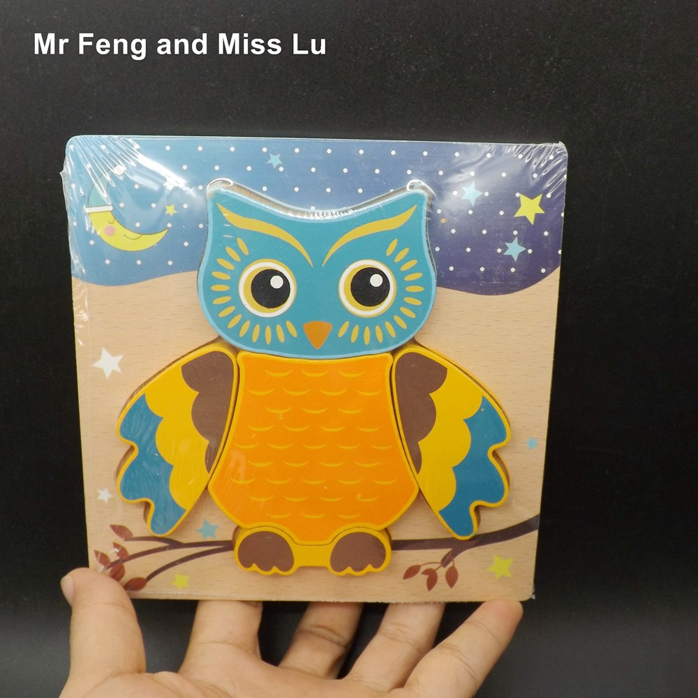 Children Animal Wooden Puzzle Personalized Educational Kids Cartoon Jigsaw Toys Owl Model Gift