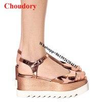 Rose Gold Elyse Platform Sandals Shoes Women Summer Fashion Star Cut Out Open Square Toe Colour
