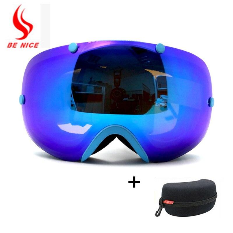 Benice брендовые лыжные очки 2 двойные линзы UV400 Анти-туман сферические лыжные очки на лыжах мужские и женские зимние очки + коробка комплект