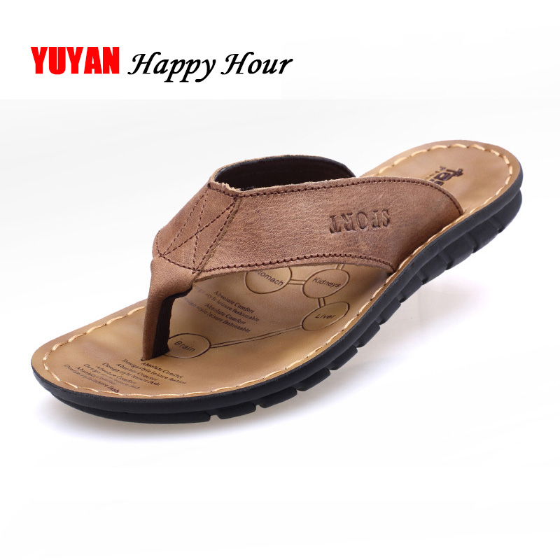 2019 Summer Shoes Men Slippers Genuine Leather Beach Slippers Mens Flip Flop Sandals Summer Men Shoes Male Flip Flops A673