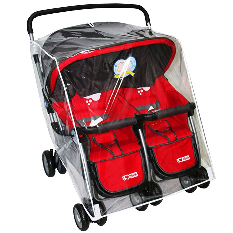 Baby Pram Double Rain Cover Stroller Protection Waterproof Baby Trolley