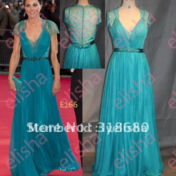 Princess Kate Middleton Cap Sleeves Celebrity Party Gown Teal Blue ...