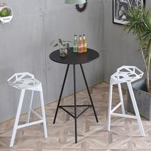 Простой барный стол и стул сочетание кованого железа дома высокая нога маленький круглый стол балкон Открытый Отдых барный журнальный столик