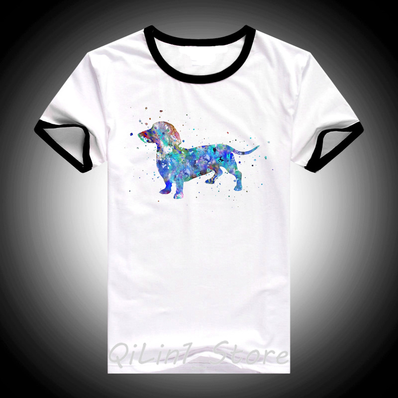 Hipster Cool Dachshund Watercolor T Shirt femme Summer Fashion Women T Shirt Pretty Girl Casual Top tshirt Cute Dog Art Design in T Shirts from Women 39 s Clothing