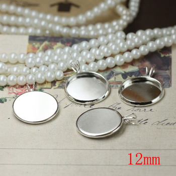 Inner 12mm Round Shape Pendants Metal Accessories Silver Plated 8 Colors Jewelry Cabochon Charms Tray Bezel Blank Base W/ V Loop