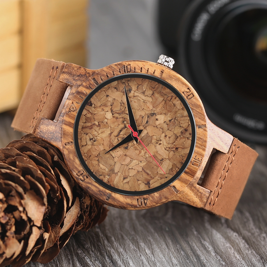 Creative Simple Wood Watches Men's ZebraCork SlagBroken Leaves Face Wrist Watch Original Wooden Bamboo Male Clock Relogio 2017 2018 Christmas Gifts (22)