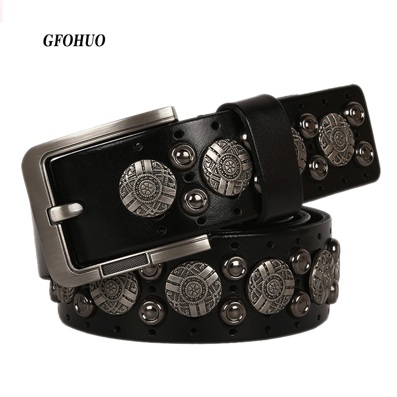 Metal Rivet Cowboy Belt Genuine Leather Cowskin Men Belt Punk Rivet Jeans Belts For Men Ceinture Homme Cinturones Hombre-in Men's Belts from Apparel Accessories