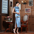 2017 Hot Sale Women Cheongsams Female Evening Dresses Eastern Style Ladies Silk Qipao Chinese Traditional Long Silk Cheongsams