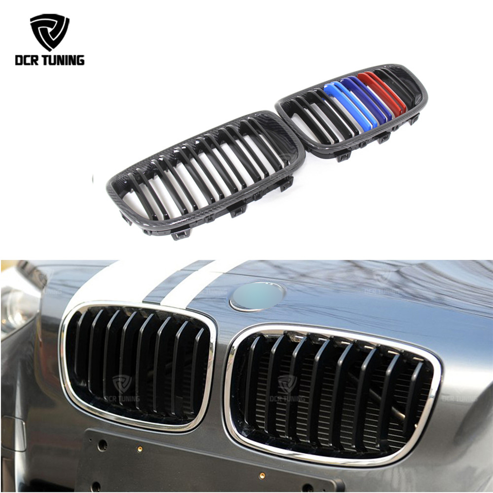 Двойные рейки для BMW 1 серии F20 F21 116i 118i 125i M135i на 2011 углеродного волокна Пластик передняя решетка м выглядеть