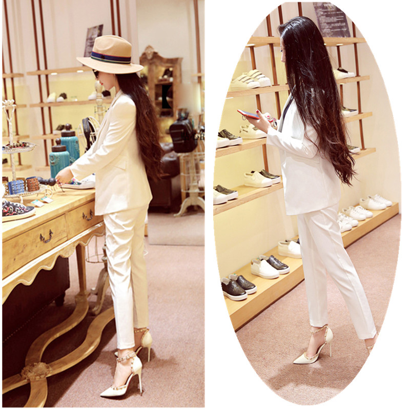 Two Piece Set Office Suit Women  Black Long Jacket+Long Pant Suits Businness Work Wear Suits