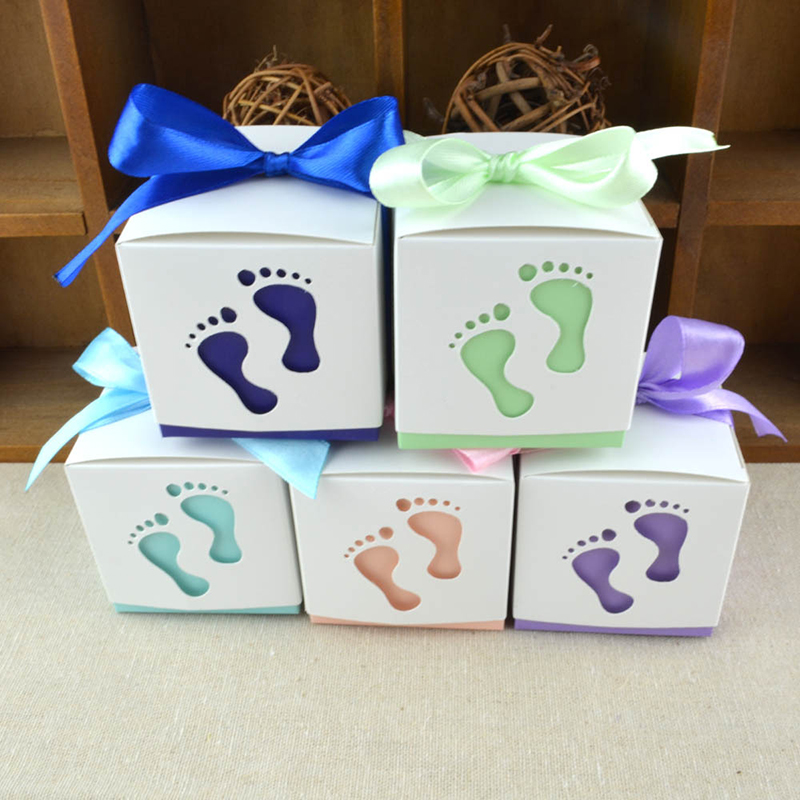 50pcs Footprint Gift Box Footmark Favors Candy with Ribbon Creative Birthday Party Baby Shower Wedding Event Supplies