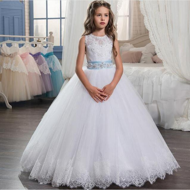 40744fab52 New arrival Flower Girl Dresses Sleeveless O-Neck Ball Gown Lace Up First  Communion Dresses Hot Vestidos De Comunion Custom Make