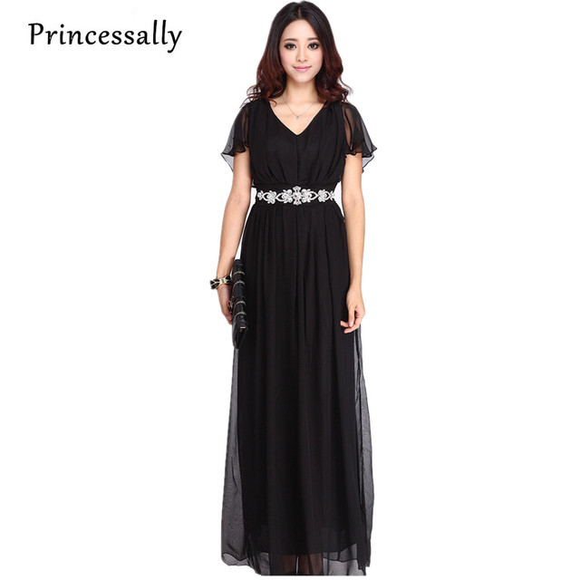 Plus Size Bridesmaid Dress With Sleeve Chiffon Long High Waist Black