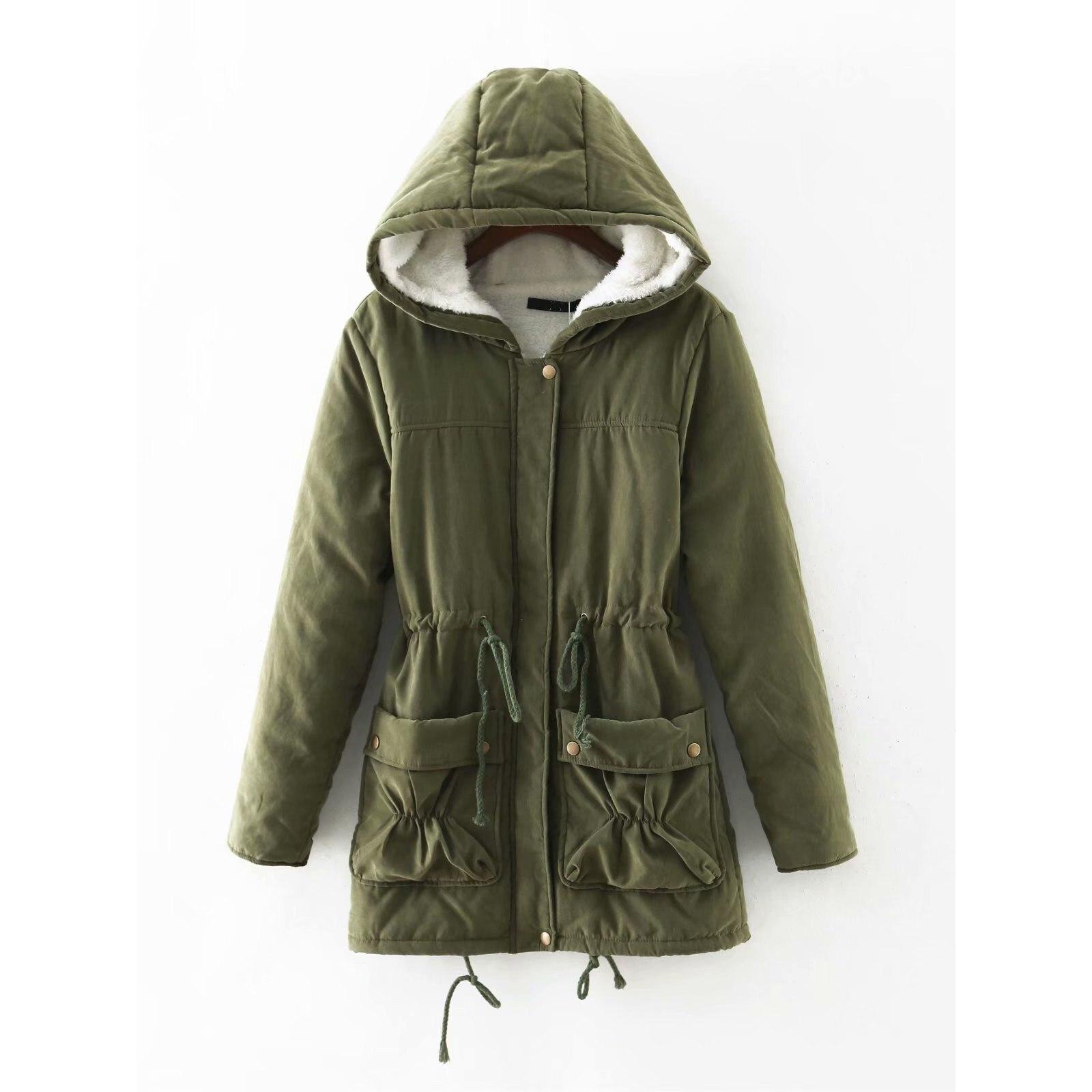 Winter Women Casual Cotton Zipper Padded Jackets Loose Medium Long Hooded   Parkas   Drawstring Wadded Quilt Snow Outwear Overcoat