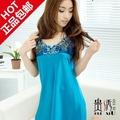 Short skirt lace spaghetti strap nightgown sexy women's cool silk sleepwear summer elegant silk lounge