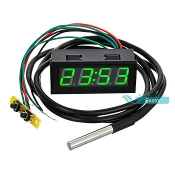 0.56 DC 0-30V Voltmeter Thermometer Clock 3in1 Meter Gauge with 1 Meter DS18B20 Temperature Sensor Green Blue Red Yellow Light