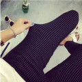 Summer Plus Size Casual Women Pencil Pants Elastic Slim Harem Capris Black White Stripe Leggings Trousers Plus Size Women Pants