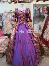 Natural Satin Floor-length Rococo Cosplay Marie Antoinette Costumes
