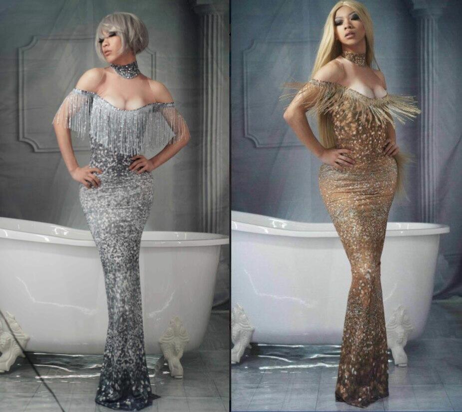 Occident discothèque Bar robe de soirée femmes argent or glands longue robe épaule maigre robe bal anniversaire scène Costumes