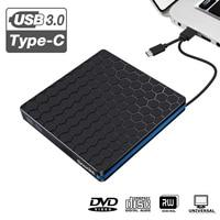 USB 3.0 Slim External DVD CD Drive Optical Drives Burner Writer Reader Recorder for Laptop Notebook Desktop PC Type C Devices