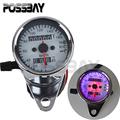 Chrome Shell White Dial Universal Motorcycle Speedometer Odometer Gauge Backlight Dual Speed Meter With LED Indicator Motocross