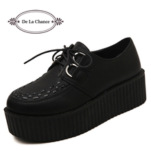 Big Size 40 Spring Autumn Flat Shoes Vintage Women Creepers Platform Shoes Woman Flatform Black Suede Creepers For Women