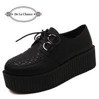 Big Size 40 Lente Herfst Platte Schoenen Vintage Vrouwen Klimplanten Platform Schoenen Vrouw Flatform Zwart Suede Klimplanten Voor Vrouwen