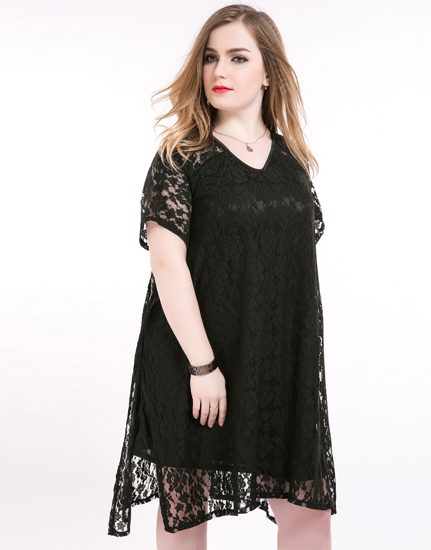 cute ann women's sexy v neck asymmetrical plus size summer lace