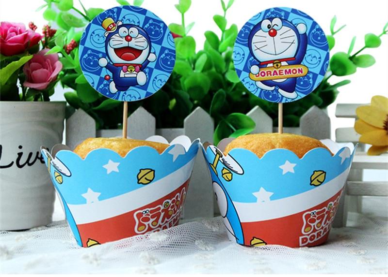 Doraemon Cupcake Wrapper Dan Picks Puncak Pernikahan Anak