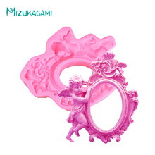 3D Big Fondant Silicone Mold Angel Lace Frame Villa Chocolate Baking Tools Cake Decorating MJ-00815
