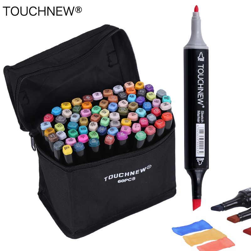 TOUCHNEW 30/40/60/80 Colors Art Markers Alcohol Based Markers Drawing Pen Set Manga Dual Headed  Art Sketch Marker Design Pens dainayw 12 cool grey colors marker pen grayscale dual head art markers set for manga design drawing school student supplies
