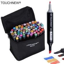 Canetas artísticas touchnew, marcadores à base de álcool, conjunto de caneta para desenho, cabeça dupla, 30/40/60/80 cores canetas de design do marcador