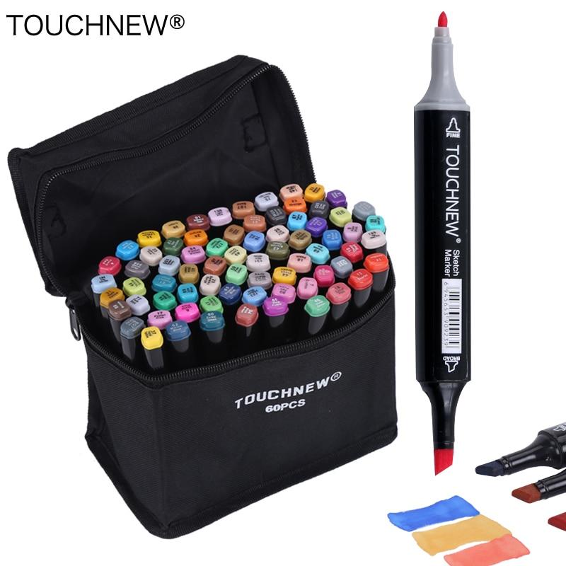 Touchnew 30/40/60/80 colores Marcadores marcadores basados en alcohol dibujo set manga doble cabeza arte sketch Marker plumas diseño