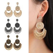 2020 Hot  Boho Vintage Tribal Ethnic Carved Flower Dangle Tassel Earring For Women Tradition India jewelry Jhumka Jhumki