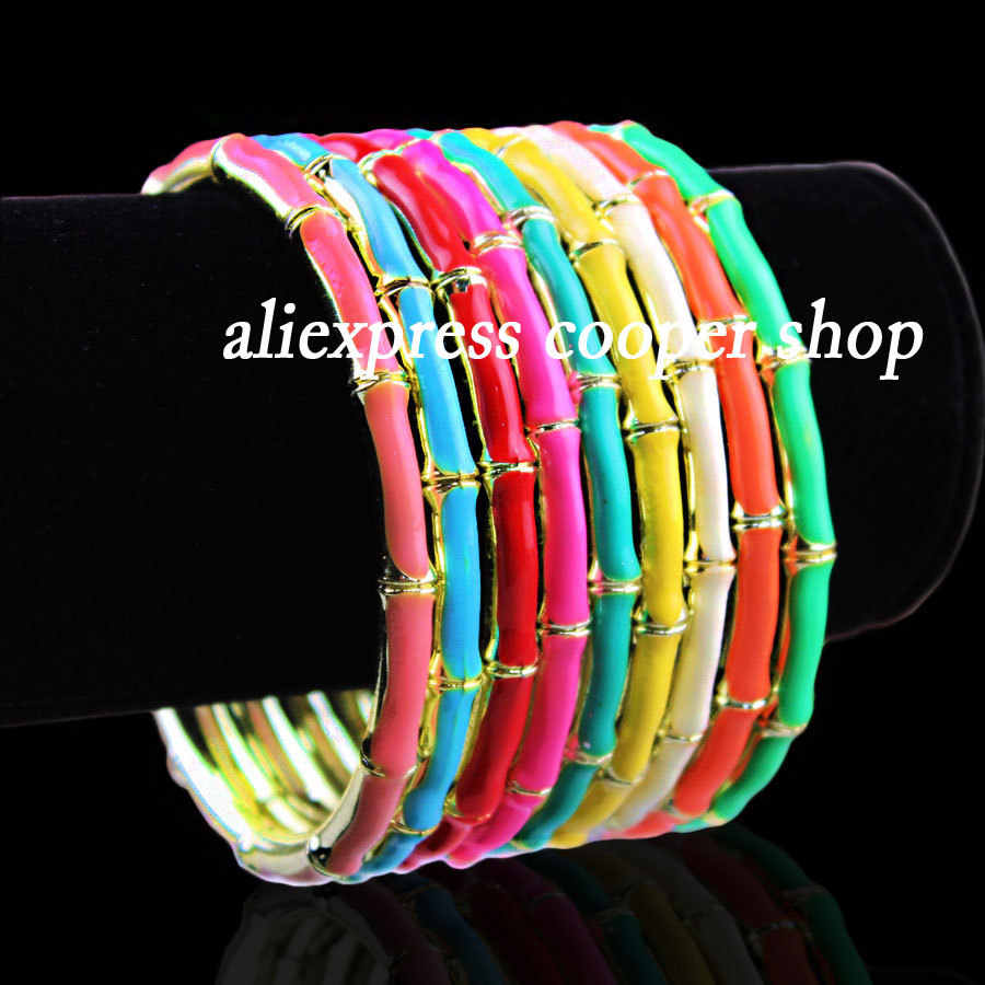 Korea style fashion charm bracelets painted bamboo bracelet bangles for women's fashion